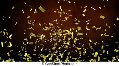 Animation of gold confetti falling over orange clouds. new year's eve party celebration festivity concept digitally generated image.