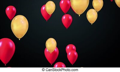 Animation of Golden Balloons Flying Moving Seamless loop background Alpha Channel