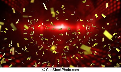 Animation of golden confetti falling down on red background