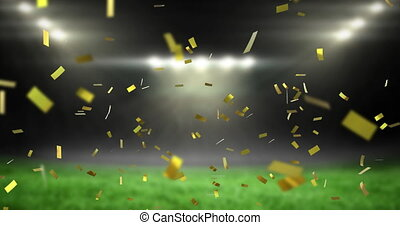 Animation of golden confetti falling over empty sports stadium. competition victory celebration concept digitally generated image.