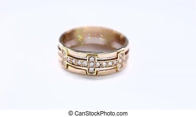 Animation of Golden Ring Rotation with Diamonds on White. Seamless Looping HD Video Clip