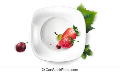 Grapes and strawberries appear on a white plate.