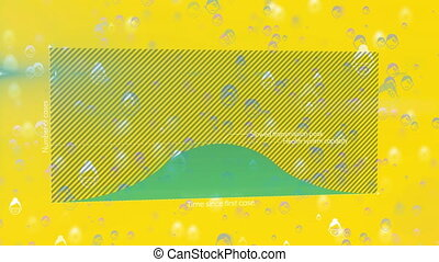 Animation of a graph showing the curve flattening over people wearing face masks icons floating on yellow background digital composition