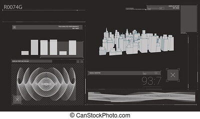 Animation of graphs and rotating 3D city on black screen