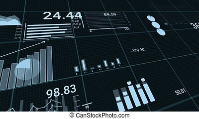 Animation of graphs on black background with stock market ticker. Illustrates market crash since covid-19 pandemic started.