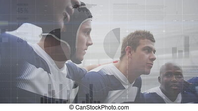 Animation of graphs, data and statistics over multi-ethnic male rugby team standing in a huddle digital composition