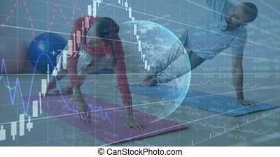 Animation of graphs with data and statistics with globe spinning over Caucasian couple exercising