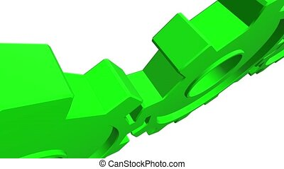 Animation of green 3d gears. White background. Alpha channel. Close up