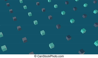 Animation of green and brown squares in blue background