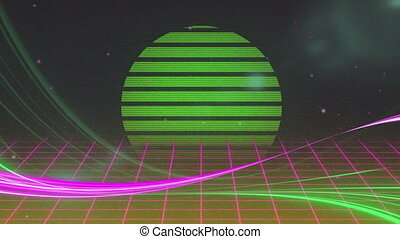 Animation of green circle glowing over pink grid moving in seamless loop