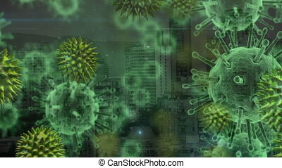 Animation of green corona virus with city in background - ...