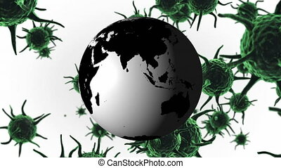Animation of green corona virus with world globe