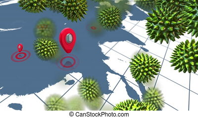 Animation of green corona virus with world map in background