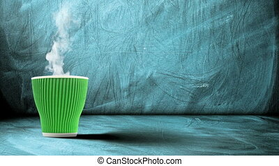 cup with hot drink evaporating smoke - animation of green ...