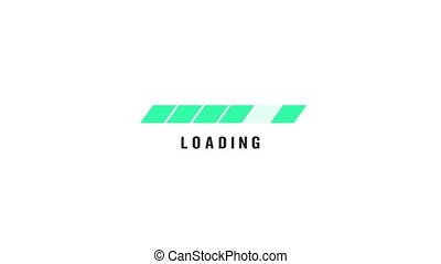 Animation of green floating line icon on white background,...