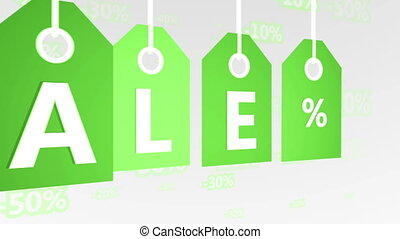 Animation of Green Hanging Price Tags, sale labels. Seamless...