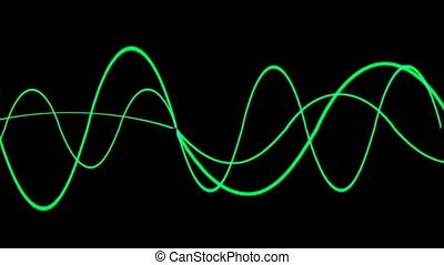 Animation of green lines wave,seaml