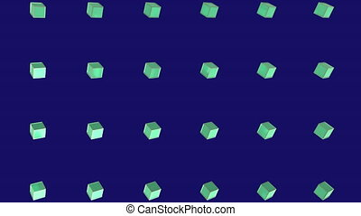 Animation of green squares in purple background