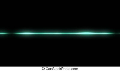Animation of green waveform with visualization of audio wave on black background