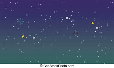 Animation of greeting Christmas with firework background...