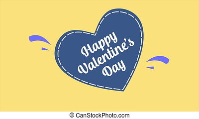 Animation of greeting Happy Valentine day on background love. Valentine