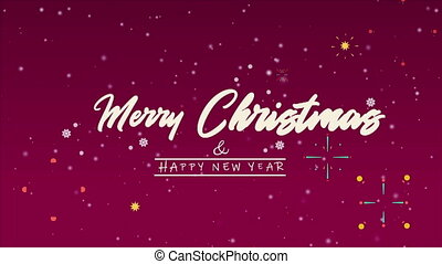 Animation of greeting Merry Christmas with firework...