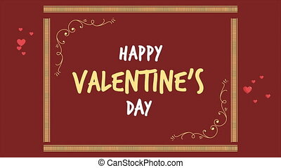 Animation of greeting Valentine day with ornament collection