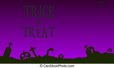 Animation of Halloween treat or trick landscape