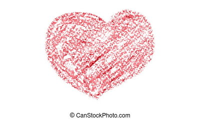 Animation of hand drawn red crayon hearts -- Love concept,...