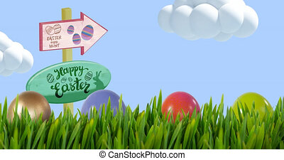 Animation of happy easter and egg hunt on signs and easter eggs in grass over blue sky. easter celebration and tradition concept digitally generated video.