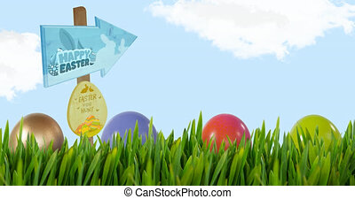 Animation of happy easter and egg hunt text on signs with easter eggs in grass over blue sky. easter tradition and celebration concept digitally generated video.