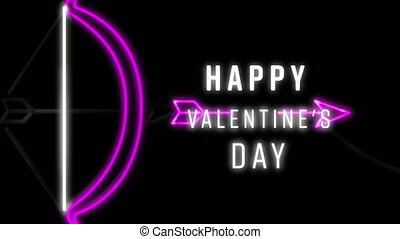 Animation of neon Happy Valentines Day text and bow with arrow written on background. Valentines Day celebration concept digitally generated image.