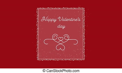 Animation of Happy Valentines Day text written in white letters and white decoration on red background. Valentines Day celebration concept digitally generated image.