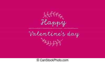 Animation of Happy Valentines Day text written in white letters and white decoration on pink background. Valentines Day celebration concept digitally generated image.