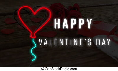 Animation of happy valentine's day text with neon heart balloon over roses. valentine's day, love and romance concept digitally generated video.