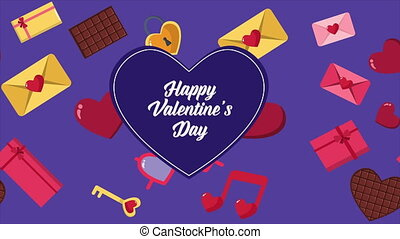 Animation of heart, chocolate, envelope, and gift boxes for...