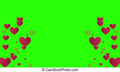 Animation of heart with green creen for greeting valentine day collection
