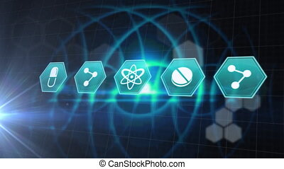 Animation of hexagon medical icons with glowing light trails. digital interface, connection and communication concept digitally generated video.