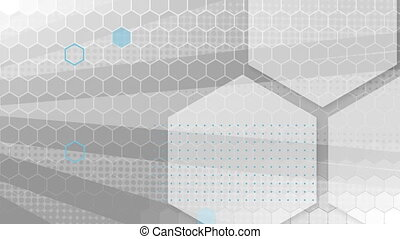 Animation of hexagon outlines mesh over rotating grey stripes moving in seamless loop