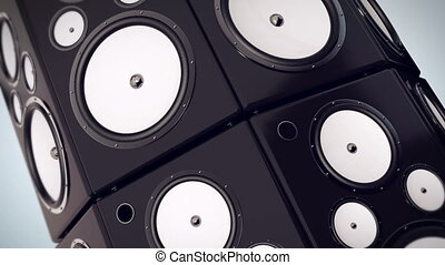 """Animation of Hi fi audio stereo system sound speakers background"""