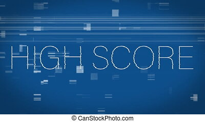 Animation of high score text on a blue background