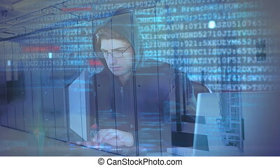 Animation of hooded man hacking a computer - Animation of a ...