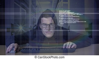 Animation of hooded man hacking a computer