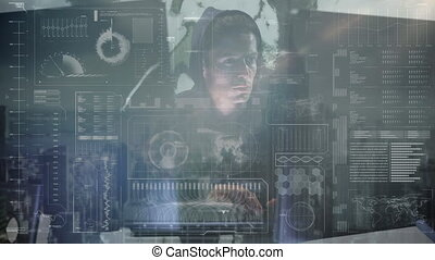 Animation of hooded man hacking computer - Animation of a ...