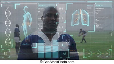 Animation of human body data and statistics over African American male rugby player