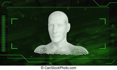 Animation of human bust on green background