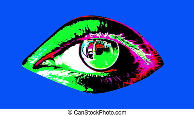"""Animation of human eye in bright colors"" - ""A pop art 3d..."