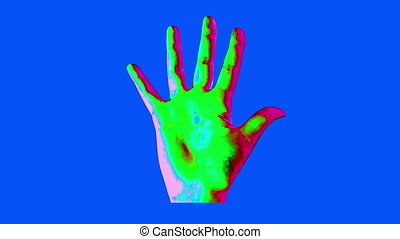 """Animation of human hand in bright colors"""