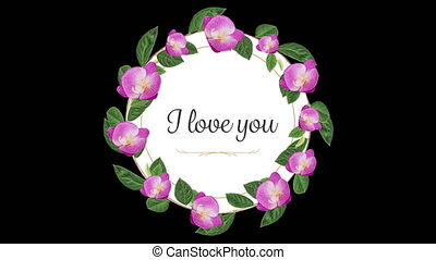 Animation of I Love You text written on round card with flowers on black background. Valentines Day celebration concept digitally generated image.