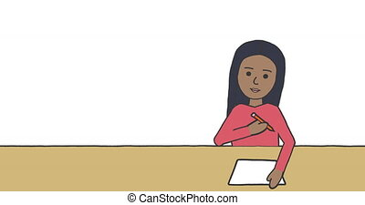 Animation of illustration of schoolgirl sitting at desk and writing on white background